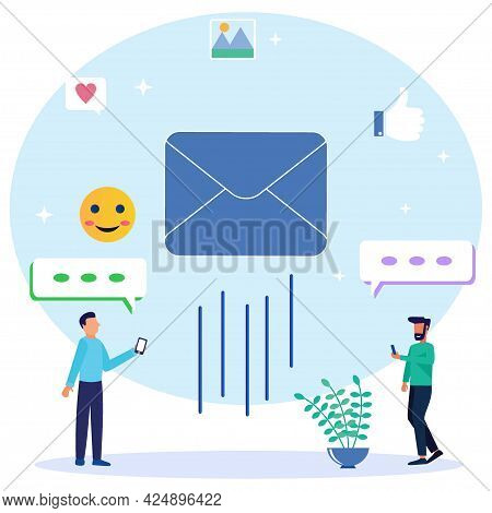 Modern Style Vector Illustration Of Envelope And Post Box Icon Containing Mail, Receiving Mail, Sort