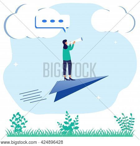 Flat Style Vector Illustration Of Achievement Business Concept, Businessperson Standing On Paper Air