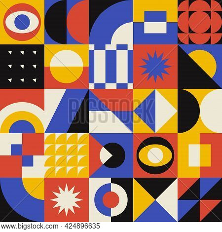 Abstract Geometric Pattern. Retro Vector Banner With Geometrical Composition. Bauhaus Design.