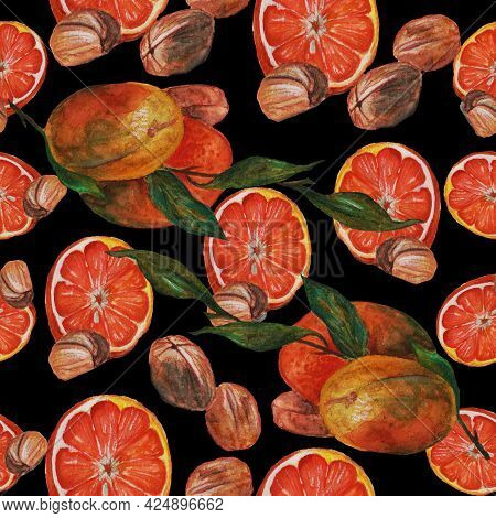 Oranges,walnuts And Bay Leaf, Still Life On A Black Background Orange Pulp And Its Peel And Useful N