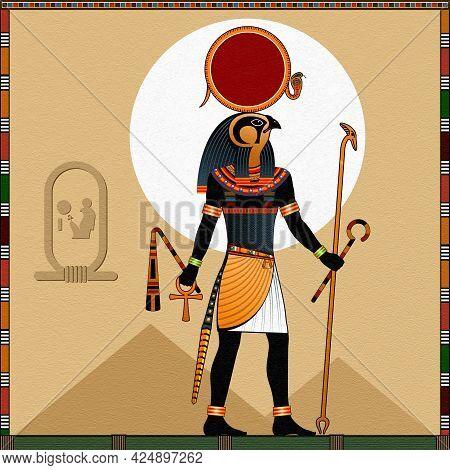 Ancient Egyptian Sun God Ra. Religion Of Ancient Egypt. Stylization After An Ancient Egyptian Fresco
