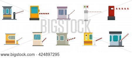Toll Road Icons Set. Flat Set Of Toll Road Vector Icons Isolated On White Background