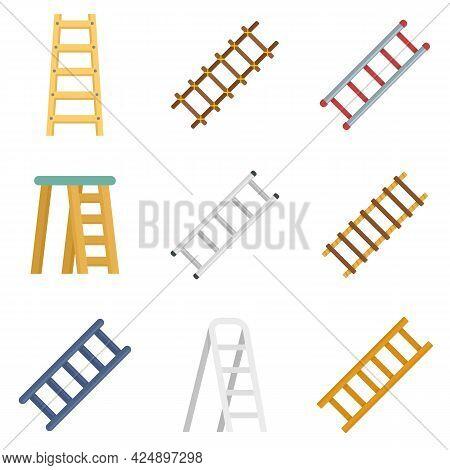 Ladder Icons Set. Flat Set Of Ladder Vector Icons Isolated On White Background