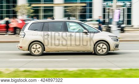 Moscow, Russia - May 2021: Citroen Grand C4 Picasso Minivan Produced By The French Automaker, Side V