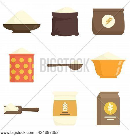 Flour Icons Set. Flat Set Of Flour Vector Icons Isolated On White Background