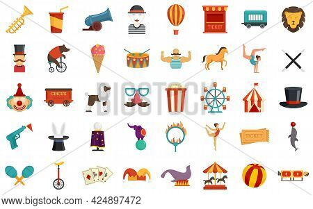 Circus Icons Set. Flat Set Of Circus Vector Icons Isolated On White Background