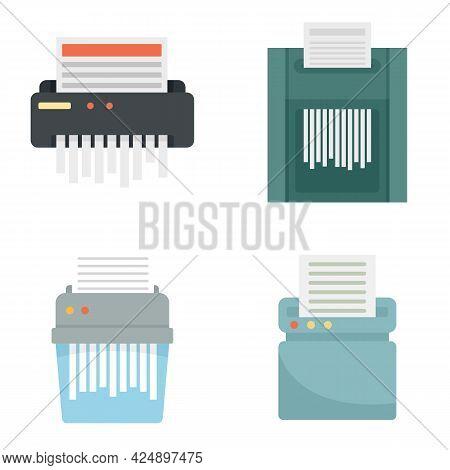 Shredder Icons Set. Flat Set Of Shredder Vector Icons Isolated On White Background