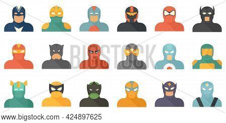 Superhero Icons Set. Flat Set Of Superhero Vector Icons Isolated On White Background