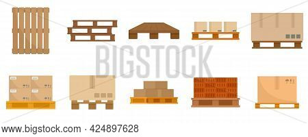Pallet Icons Set. Flat Set Of Pallet Vector Icons Isolated On White Background
