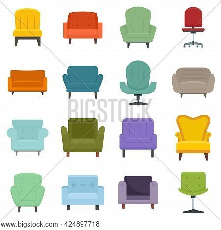 Armchair Icons Set. Flat Set Of Armchair Vector Icons Isolated On White Background