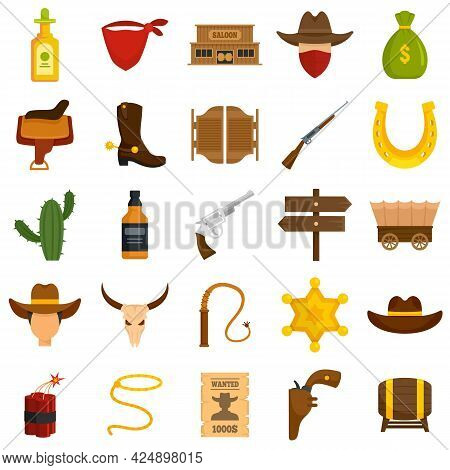Cowboy Icons Set. Flat Set Of Cowboy Vector Icons Isolated On White Background
