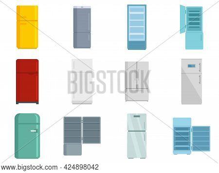 Fridge Icons Set. Flat Set Of Fridge Vector Icons Isolated On White Background
