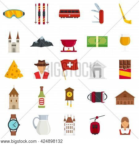 Swiss Icons Set. Flat Set Of Swiss Vector Icons Isolated On White Background