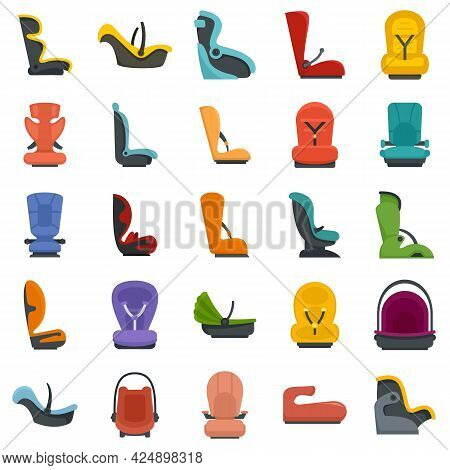 Baby Car Seat Icons Set. Flat Set Of Baby Car Seat Vector Icons Isolated On White Background