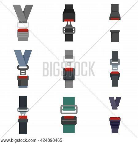Seatbelt Icons Set. Flat Set Of Seatbelt Vector Icons Isolated On White Background