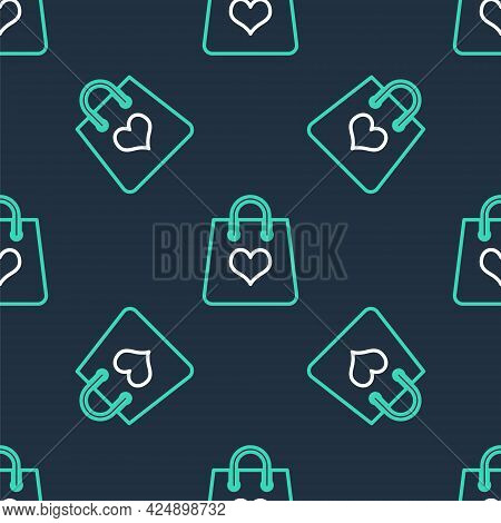 Line Shopping Bag With Heart Icon Isolated Seamless Pattern On Black Background. Shopping Bag Shop L