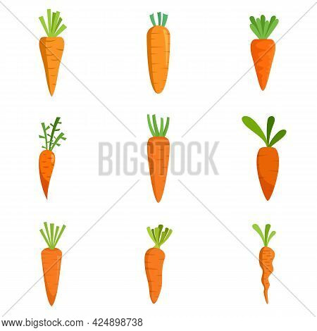 Carrot Icons Set. Flat Set Of Carrot Vector Icons Isolated On White Background