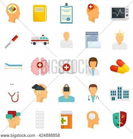 Mental Hospital Icons Set. Flat Set Of Mental Hospital Vector Icons Isolated On White Background