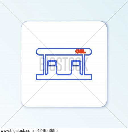 Line Gas Filling Station Icon Isolated On White Background. Transport Related Service Building Gasol