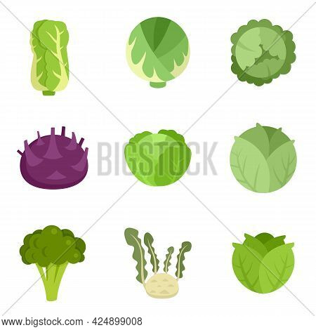Cabbage Icons Set. Flat Set Of Cabbage Vector Icons Isolated On White Background