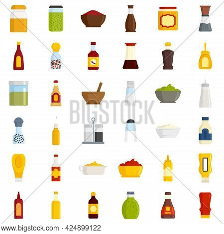 Condiment Icons Set. Flat Set Of Condiment Vector Icons Isolated On White Background