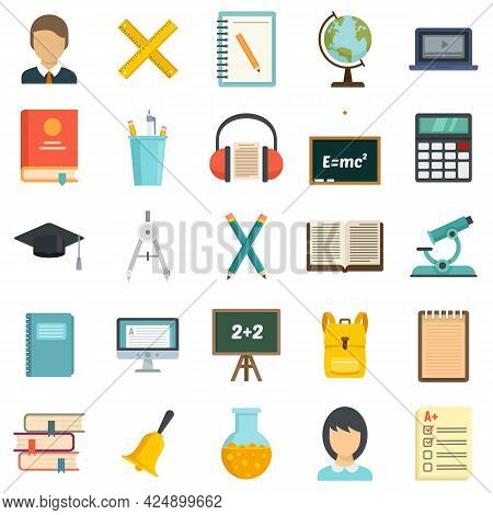 Lesson Icons Set. Flat Set Of Lesson Vector Icons Isolated On White Background
