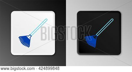 Line Garden Rake For Leaves Icon Isolated On Grey Background. Tool For Horticulture, Agriculture, Fa