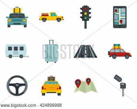 Car Trip Icons Set. Flat Set Of Car Trip Vector Icons Isolated On White Background