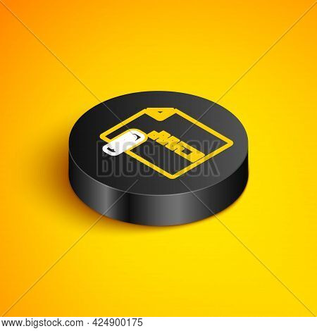 Isometric Line Zip File Document. Download Zip Button Icon Isolated On Yellow Background. Zip File S