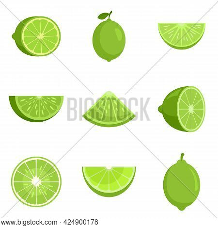 Lime Icons Set. Flat Set Of Lime Vector Icons Isolated On White Background