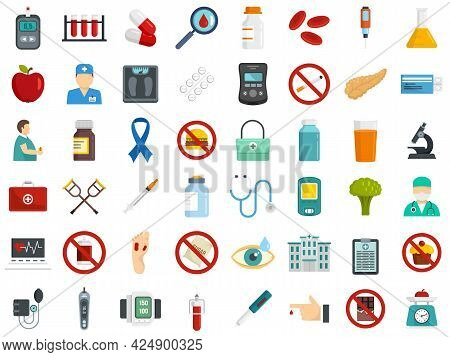 Diabetes Icons Set. Flat Set Of Diabetes Vector Icons Isolated On White Background