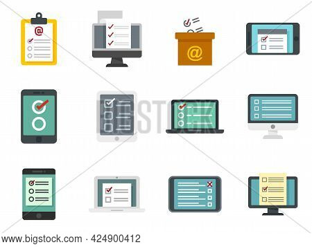Online Survey Icons Set. Flat Set Of Online Survey Vector Icons Isolated On White Background