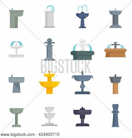 Drinking Fountain Icons Set. Flat Set Of Drinking Fountain Vector Icons Isolated On White Background