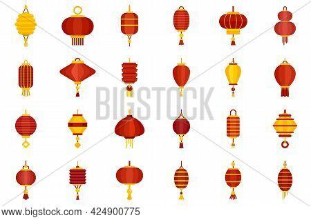Chinese Lantern Icons Set. Flat Set Of Chinese Lantern Vector Icons Isolated On White Background