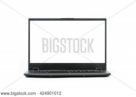 Large Open Laptop Isolated On White Background - Front View With Clipping Paths For Laptop And Scree