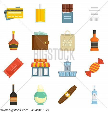 Duty Free Shop Icons Set. Flat Set Of Duty Free Shop Vector Icons Isolated On White Background