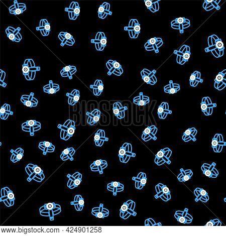 Line Head Flashlight Icon Isolated Seamless Pattern On Black Background. Tourist Head Flashlight. Ca