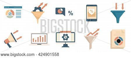 Conversion Rate Icons Set. Flat Set Of Conversion Rate Vector Icons Isolated On White Background