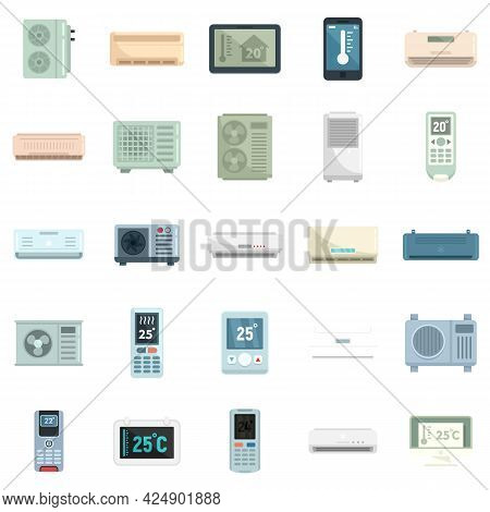 Climate Control Systems Icons Set. Flat Set Of Climate Control Systems Vector Icons Isolated On Whit