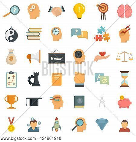 Life Skills Icons Set. Flat Set Of Life Skills Vector Icons Isolated On White Background