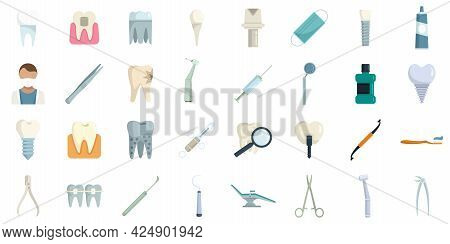Tooth Restoration Icons Set. Flat Set Of Tooth Restoration Vector Icons Isolated On White Background