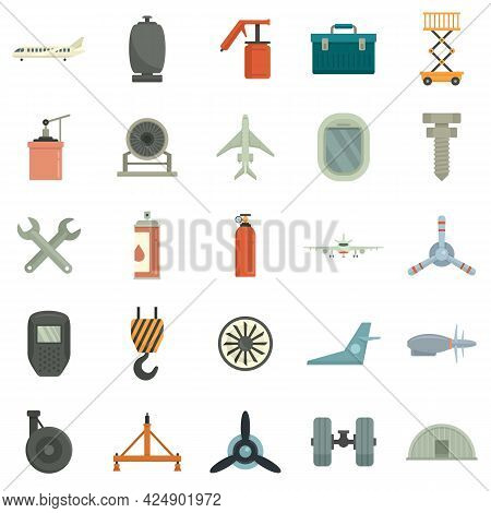 Aircraft Repair Icons Set. Flat Set Of Aircraft Repair Vector Icons Isolated On White Background