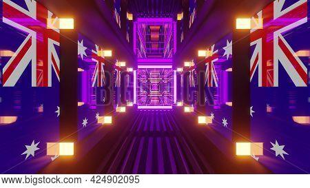 4k Uhd Corridor With Australian Flags On Walls 3d Illustration