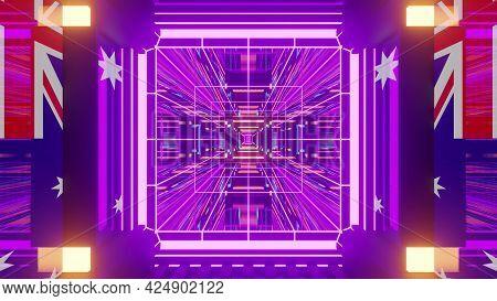 4k Uhd 3d Illustration Neon Tunnel With Australian Flags