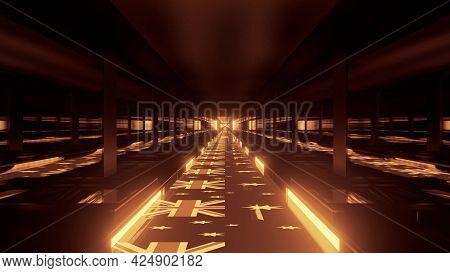 4k Uhd Golden Tunnel With Australian Flags 3d Illustration