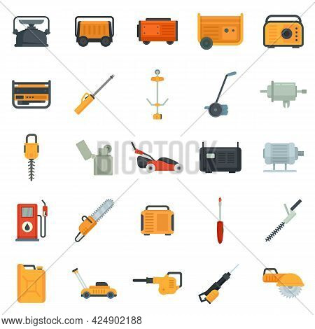 Gasoline Tools Icons Set. Flat Set Of Gasoline Tools Vector Icons Isolated On White Background