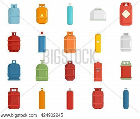 Gas Cylinders Icons Set. Flat Set Of Gas Cylinders Vector Icons Isolated On White Background