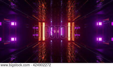 4k Uhd Corridor With Multicolored Neon Lamps 3d Illustration