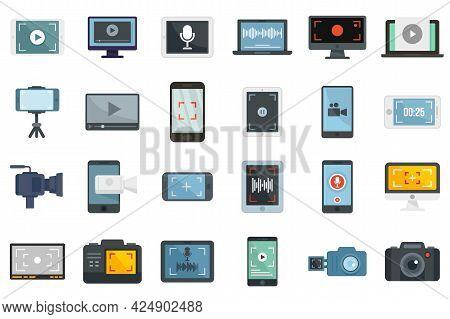 Screen Recording Icons Set. Flat Set Of Screen Recording Vector Icons Isolated On White Background