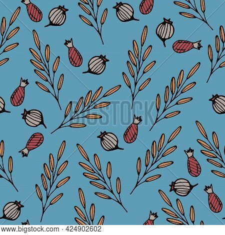 Seamless Pattern With Hand Drawn Colorful Herbal Elements And Berries On A Blue Background. It Can B